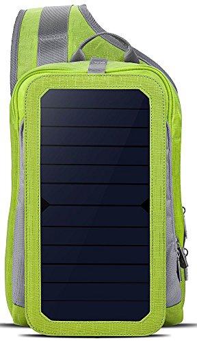 HOWO Solar Ladegerät Rucksack 6,5 Wände Solarpanel Tasche für Smart Handys und Tablets, GPS, eReader, Bluetooth-Lautsprecher, Gopro Kameras (Grün)