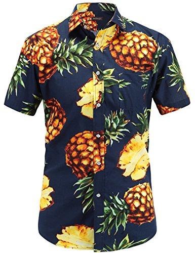JEETOO Men's Pineapple Shirts Hawaiian Style Short Sleeve Summer Casual