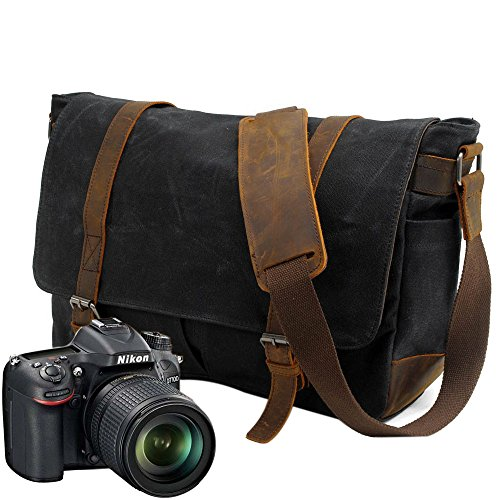 Neuleben Vintage Wasserdicht Kameratasche Aktentasche herausnehmbar Kamerafach Canvas Leder Umhängetasche Fototasche für DSLR Objektiv Laptopfach (Schwarz)