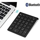 Bluetooth Number Pad, 7Lucky Portable Wireless Bluetooth 28 Key Numeric Keypad Keyboard Extensions For Financial Accounting Data Entry For Smartphones, Tablets, Surface Pro, Windows, Laptop And More