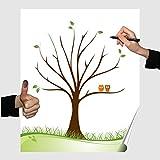 Herzl-Manufaktur Wedding Tree Poster Eule 30x40cm Partyspiel Fingerabdruckbaum Geburtstag Gästebuch Hochzeit (Eule)