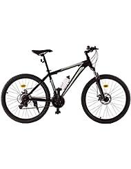 Ultrasport VTT en aluminium 26pouces, vélo de randonnée, dérailleur Shimano à 21plateaux, cadre en aluminium, fourche, freins à disque, bouteille