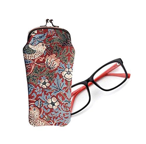 Signare Modische Tapisserie Damen Brillenetui Stil Erdbeerdieb Rot