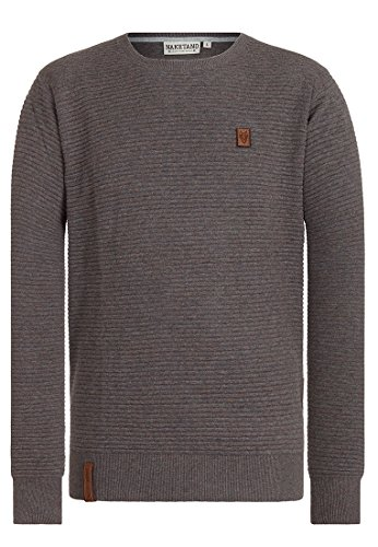 Naketano Male Knit Zapzarap Zip Zap V Fancy Dark Grey Melange