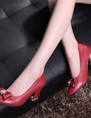 WSS 2016 Chaussures Femme-Mariage / Habillé / Décontracté / Soirée & Evénement-Noir / Rouge / Amande-Gros Talon-Talons-Talons-Similicuir red-us9 / eu40 / uk7 / cn41