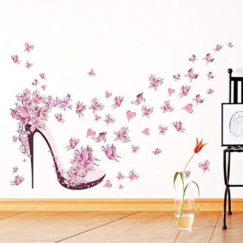 PISKLIU Sticker da Muro Scarpe con Tacco Alto Farfalle Volanti Cuore Adesivo murale Fiore Decalcomanie in PVC Decorazioni per la casa Decorazioni per la Stanza della Ragazza Poster