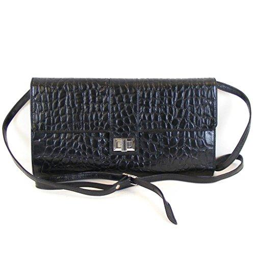 Pavini Damen Tasche Abendtasche Croco Leder schwarz 12433 Drehverschluss RV-Fach