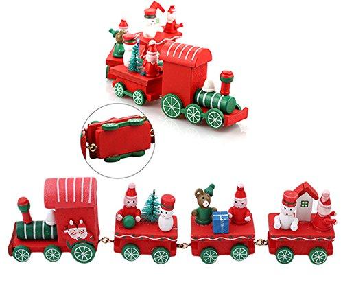 Tatuer Décorations de Noël, Train en Bois de Noël, Cadeaux de Noël pour Enfants, Train de Dessin Animé de Noël, Décoration de Table Noël Wood Christmas Train Decoration Xmas Decor Gift