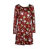 Fröhliche Weihnachten! SHOBDW Damen Mode Weihnachten Thema Drucken Langarm A-Line Swing Dress Frauen Mode Maxikleider Abendkleid Cocktailkleid Aufflackern Spitze Partykleider