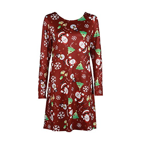 KPILP Damen Kleider Weihnachten Print Langarm Swing Damen A-Linie Allgleiches Abendkleider Weihnachten Flared Party Casual(L-Mehrfarbig,EU-42/CN-2XL