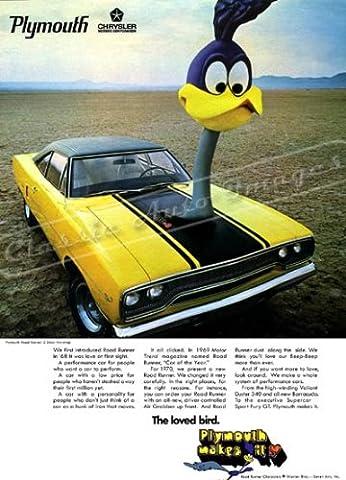 Classique et musculaire ADS et voiture Art 1970Plymouth Road Runner AD numérique et re-mastered voiture Poster imprimé