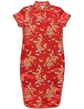 Vestido chino para niña, Qipao tradicionale motivo dragones o flores de 4 a 16 años