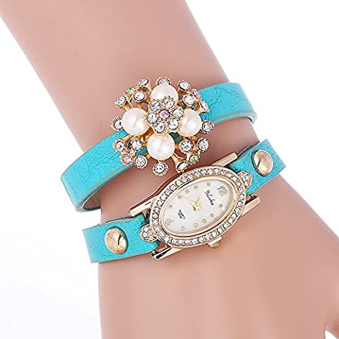 YILISHA Leather Strap Bracelet Pearl Rhinestone Flower Quartz Women Watch (Sky Blue)