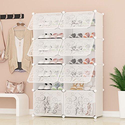 PREMAG Portable Shoe Storage Organizer Tower, Weiß mit transparenten Türen, Modular Cabinet Regale für platzsparende, Schuhregal Regale für Schuhe, Stiefel, Hausschuhe 2 * 7