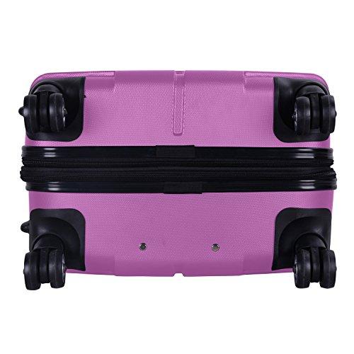 SHAIK® SERIE RAZZER SH002 3-tlg. DESIGN PMI Hartschalen Kofferset, Trolley, Koffer, Reisekoffer, 50/80/120 Liter, 4 Doppelrollen, 25% mehr Volumen durch Dehnfalte (Violett, Set) - 7