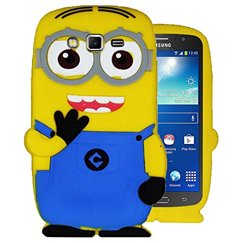 Heartly Cute Despicable Me Minion Soft Rubber Silicone Flip Bumper Best Back Case Cover For Samsung Galaxy Grand 2 G7102 G7106 Double Eye