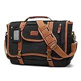 CoolBell Herren Umhängetasche Business Laptop Tasche Messenger Bag Multifunktions Schultasche Arbeitstasche Reisetasche Sport Kuriertasche Passend für 15,6 Zoll Notebook MacBook (Canvas Schwarz)