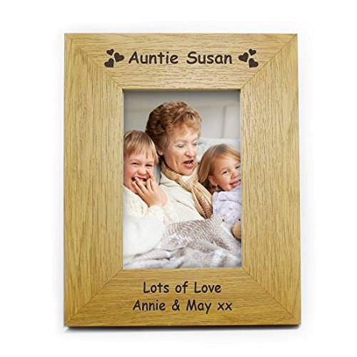 Price comparison product image Oak Finish 6x4 Hearts Photo Frame Personalised Personalised Personalised This 6x4 Oak Finish Hearts