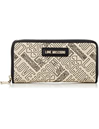 Portaf.canvas Natur+pu Nero-logo Ne, Womens Clutch, Multicolour (Natural Canvas-black), 3x10x20 cm (B x H T) Love Moschino