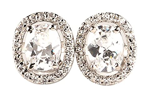 4.00 CARATS OVAL SHAPE 14KT WHITE GOLD MAN-MADE/SIMULATED DIAMOND SOLITAIRE EARRINGS