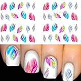 AMA(TM) 5PCS Fashion Feather Nail Art Water Transfer Sticker Rainbow Dreams Decal Nail Tips Decorations (multicolor)