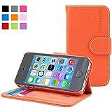 Snugg iPhone 4 / 4s Leder Hülle (orange) – Flip Case mit lebenslanger Garantie + Kartenfächern & Standfunktion