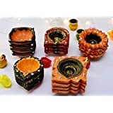 Ascension Colourful Earthen Designer Handmade Mitti Ke Deepak/Diye / Designer Handmade Terracotta Decorative Deewali Deepak/Diya / Oil Lamps For Pooja Navratri (Random Shape) (Set Of 12)