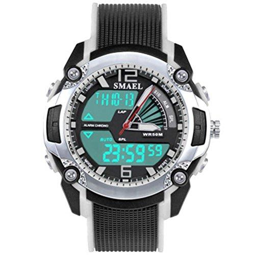 Orologio digitale orologio sportivo cinturino in PU 30 metri impermeabile ragazzi ragazze bambini cronometro cronografo calendario allarme luminoso , white