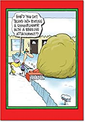 Snowblower Bagging Attachment Christmas Funny Paper Card