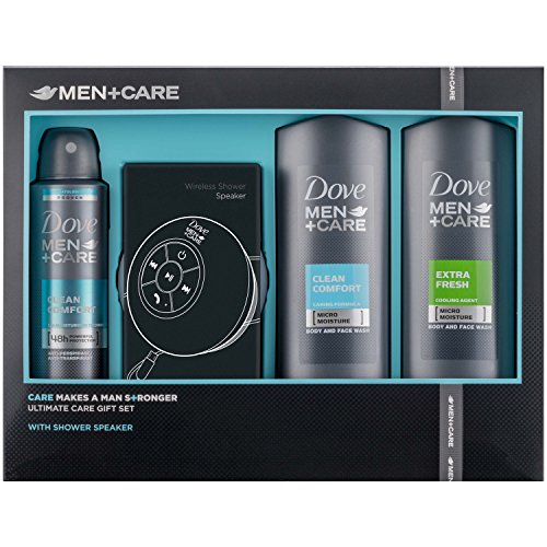 Dove for Men +Care Men's Gift Set with Shower Speaker, Anti-Perspirant Face and Body Wash - Gift Set for Him