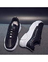 2019 Zapatos deportivos para mujer viejos zapatos de red transpirable para mujer bajos para ayudar zapatos casuales (color: negro)