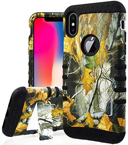 iPhone X Fall, Hunter Camo Serie Oak Tree Mossy Dry Blätter Camouflage Dual Layer, stoßfest Impact ausklappbarem Ständer Armor Defender Case für Apple iPhone X-Jagd Camouflage Schwarz Case Cover Hunter-serie