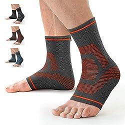 Awenia Fussbandage Fußbandage Fußgelenk Fersensporn Bandage Knöchel Laufen Sport Bandage Sprunggelenk Männer Damen,Orange L