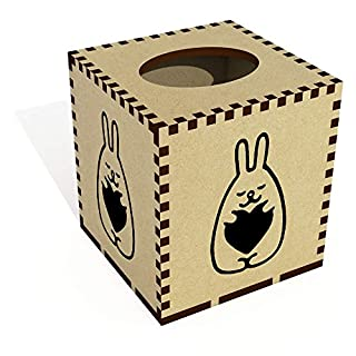 Azeeda Square 'Heart Bunny' Wooden Tissue Box Cover (TB00029743)