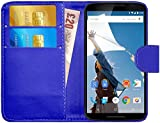 G-Shield Motorola Google Nexus 6 Hülle mit Kartenfach Ledertasche Klapphülle PU Leder Schutzhülle Tasche Flip Case Cover Etui Handyhülle mit Displayschutzfolie und Stylus - Blau