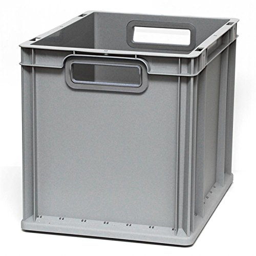 Euroboxen Eurokasten Eurobehälter offener Griff 400 x 300 x 320 mm - Griffmulde grau - Eurokisten Eurobox Lagerbox Lagerboxen Lagerkiste Lagerkisten