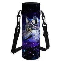 HUGS IDEA Universe Wolf Print Neoprene Water Bottle Carrier Insulated Bottle Cover for Outdoor Sport