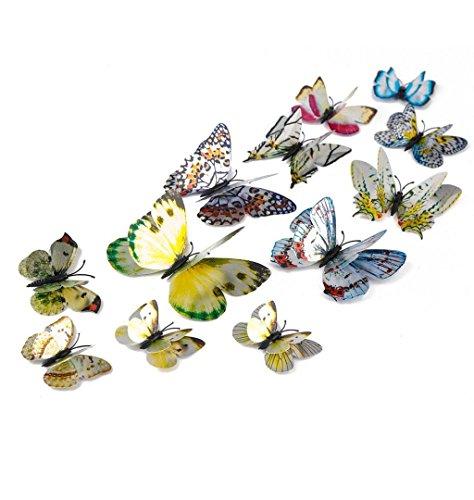 ZEZKT-Home 12 Stück 3D Schmetterlings Wandaufkleber | Dekor für Wohnzimmer, Kinderzimmer, Türen, Fenster, Badezimmer, Kühlschrank | Wandtattoo Wandsticker Wandbild Wand-Dekoration (Silber)