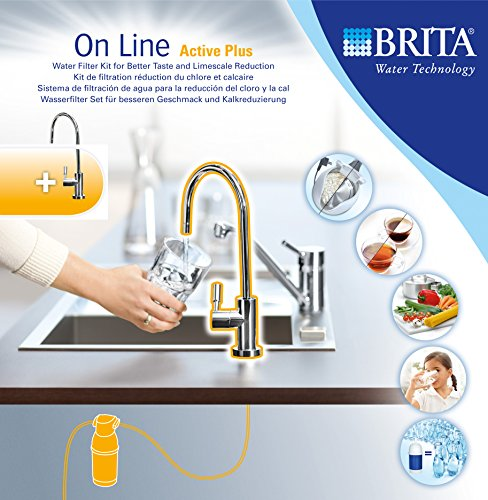 Brita 1004307 Sistema On Line Active Plus Filtro per Acqua, Rubinetto Integrato, Sottolavello
