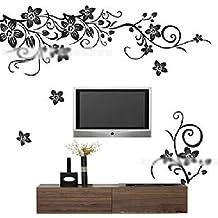 Huntgold1X Vinilo adhesivo decorativo para la pared, diseño de creativo de la mariposa DIY flor