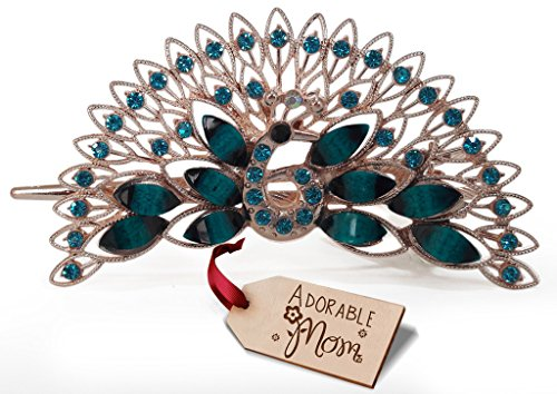 TiedRibbons Mothers day special gifts Peacock Hair Clip with Adorable Mom Wooden Tag
