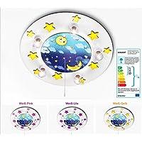 KIDSLICHT Kinderzimmerlampe Led Schlummerlicht Sonne und Mond 035-2-WGL Kinderlampe Babylampe Lampe Babyzimmer Leuchte