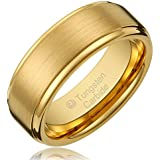 Cavalier Jewelers 8MM Men's Tungsten Carbide Gold-Plated Wedding Band Ring with Flat Brushed Top and Polished Finish Edges