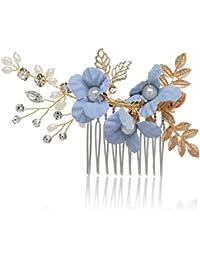AWEI Mariage Peigne cheveux/ Fleur Strass Accessoire Cheveux Mariage, Fait à la Main/ Plage Serre Tete Mariage