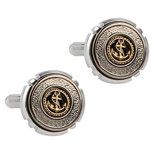 TRIPIN SILVER CUFFLINK SET FOR MEN WITH ROYAL LOGO IN AGIFT BOX