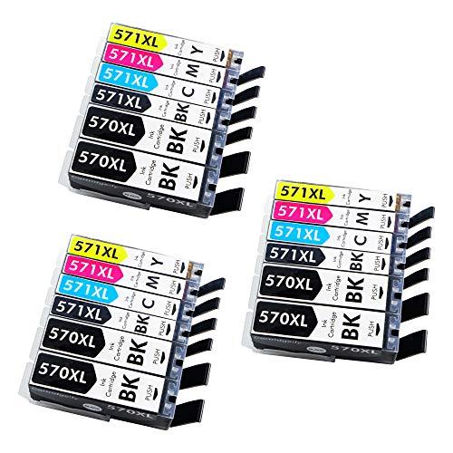 18x Cartridgeify 570XL 571XL Kompatibel Canon PGI-570 CLI-571 XL Druckerpatronen Multipack, für Canon Pixma MG5750 MG5751 MG6850 MG6851 TS5050 TS5051 TS6050 TS6052 Patronen