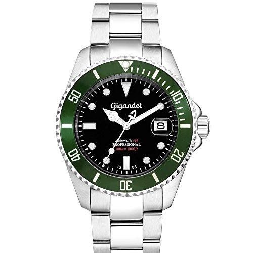 Gigandet Automatikuhr SEA GROUND Analog Automatik Armbanduhr Herren-Uhren wasserdichte Taucheruhr Uhr Datum Herrenuhr mit Edelstahl-Armband silber Grün G2-005