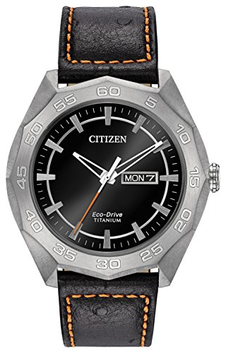 Citizen Watch Men's Analogue Solar Powered Leather Strap AW0060-03E