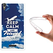 Funda Sony Xperia T3, WoowCase [ Sony Xperia T3 ] Funda Silicona Gel Flexible Keep Calm and Travel On, Carcasa Case TPU Silicona