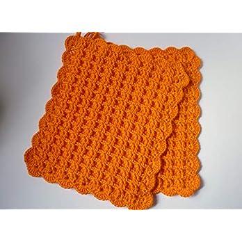 Topflappen, Waffelmuster, gehäkelt, orange (281)